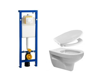 Praya Trevi toiletset rimless diepspoel met quickrelease en softclose zitting Argos bedieningsplaat wit SW98687