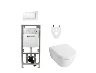 Villeroy en Boch Subway 2.0 DirectFlush toiletset softclose met Geberit reservoir en bedieningsplaat wit chroom sigma30 wit SW106379