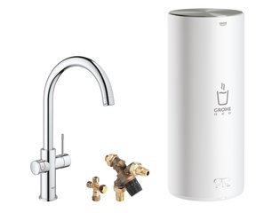 Grohe Red New keukenkraan duo met C-uitloop en L-size boiler chroom SW108060