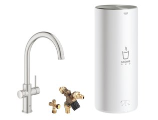 Grohe Red New keukenkraan duo met C-uitloop en L-size boiler RVS SW108061