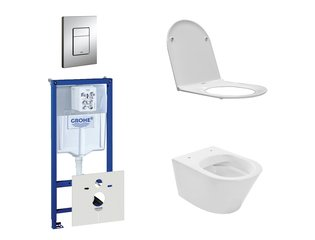 Praya Vesta Rimfree toiletset bestaande uit inbouwreservoir, toiletpot met softclose en quickrelease toiletzitting en bedieningsplaat chroom SW110954
