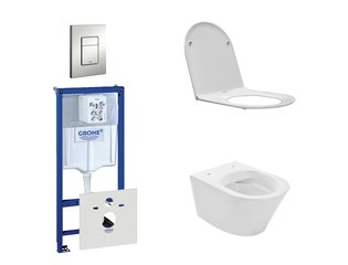 Praya Vesta Rimfree toiletset bestaande uit inbouwreservoir, toiletpot met softclose en quickrelease toiletzitting en bedieningsplaat mat chroom SW110955