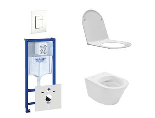 Praya Vesta Rimfree toiletset bestaande uit inbouwreservoir, toiletpot met softclose en quickrelease toiletzitting en bedieningsplaat wit SW110956