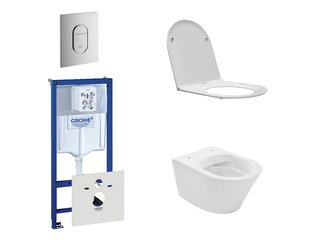 Praya Vesta Rimfree toiletset bestaande uit inbouwreservoir, toiletpot met softclose en quickrelease toiletzitting en bedieningsplaat verticaal chroom SW110958
