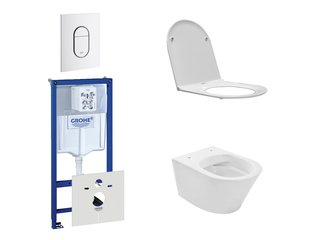 Praya Vesta Rimfree toiletset bestaande uit inbouwreservoir, toiletpot met softclose en quickrelease toiletzitting en bedieningsplaat verticaal wit SW110960