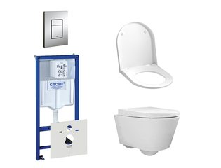 Throne Bathrooms Salina Compact Pack WC avec réservoir encastrable, cuvette toilette compact, abattant et plaque de commande verticale/horizontale chrome SW158394