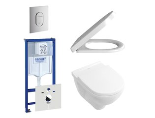 Villeroy en Boch O.Novo DirectFlush toiletset bestaande uit inbouwreservoir, directflush wandcloset met softclose en quick release toiletzitting en bedieningsplaat verticaal chroom SW159222