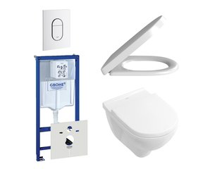Villeroy en Boch O.Novo DirectFlush toiletset bestaande uit inbouwreservoir, directflush wandcloset met softclose en quick release toiletzitting en bedieningsplaat verticaal wit SW159224