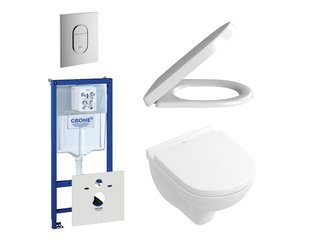 Villeroy en Boch O.Novo DirectFlush compact toiletset bestaande uit inbouwreservoir, directflush wandcloset met softclose en quick release toiletzitting en bedieningsplaat verticaal chroom SW159229