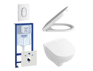 Villeroy en Boch O.Novo DirectFlush compact toiletset bestaande uit inbouwreservoir, directflush wandcloset met softclose en quick release toiletzitting en bedieningsplaat verticaal wit SW159231