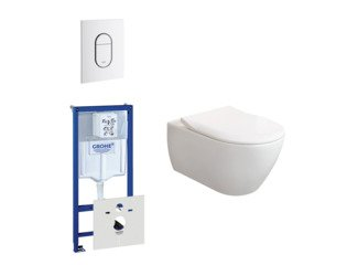 Villeroy & Boch Subway 2.0 ViFresh toiletset met slimseat softclose en quick release en bedieningsplaat verticaal wit SW160020