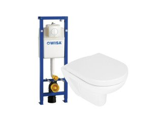 Wisa toiletset met rimless toiletpot zitting soft close en quick release bedieningsplaat wit SW205835