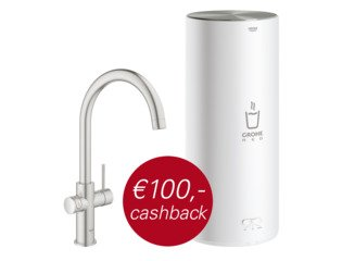 Grohe Red New keukenkraan duo met C-uitloop en L-size boiler RVS