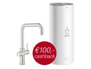 Grohe Red New keukenkraan duo met U-uitloop en L-size boiler RVS