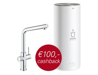 Grohe Red New keukenkraan duo met L-size boiler chroom