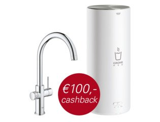 Grohe Red New keukenkraan duo met C-uitloop en L-size boiler chroom