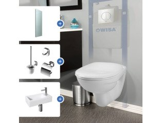 Set avantageux : Adema set de toilette, Differenz set lave-mains, Geesa set d'accessoires de toilette et Saniclass miroir SW237679
