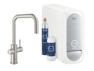 Grohe Blue Home 1-gats keukenkraan m. duo U-uitloop uittrekbaar starterkit m. Wifi bluetooth Chilled & Sparkling 3x gekoeld + 3x bruisend water supersteel SW236972