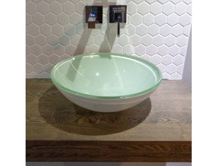 Saniclass Fragola waskom 42x14,5cm rond gehard glas wit OUTLET OUT6122