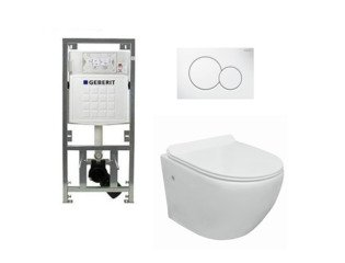 Go toiletset compact Rimless inclusief UP320 toiletreservoir met softclose en quickrelease toiletzitting met bedieningsplaat wit SW98670