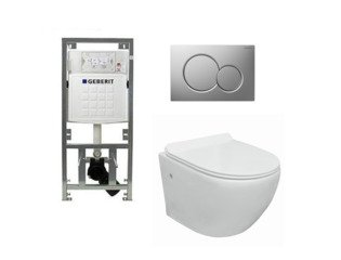 Go toiletset compact Rimless inclusief UP320 toiletreservoir met softclose en quickrelease toiletzitting met bedieningsplaat mat verchroomd SW98671