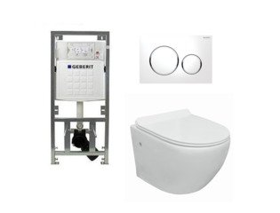 Go toiletset compact Rimless inclusief UP320 toiletreservoir met softclose en quickrelease toiletzitting met sigma20 bedieningsplaat wit SW98673