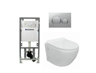 Go toiletset compact Rimless inclusief UP320 toiletreservoir met softclose en quickrelease toiletzitting met sigma20 bedieningsplaat chroom mat SW98675