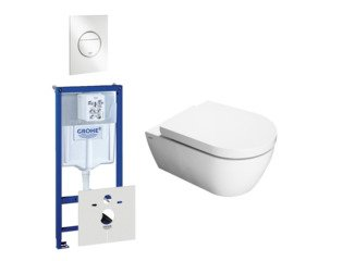 Throne bathrooms Salina toiletset bestaande uit inbouwreservoir, toiletpot, toiletzitting en bedieningsplaat wit SW276991