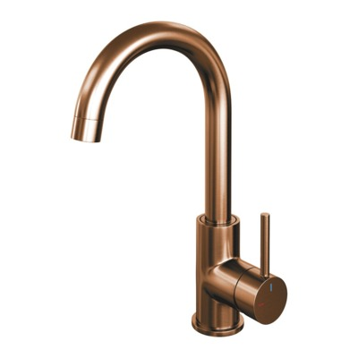 Brauer Copper Edition Wastafelmengkraan hoog model ronde uitloop standaardgreep ColdStart PVD