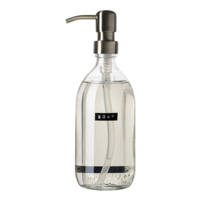 Wellmark Handzeep helder glas messing pomp 500ml tekst SOAP