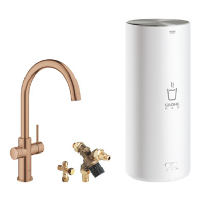 Grohe Red 1-gats keukenkraan duo m. c-uitloop m. L-size boiler brushed warm sunset