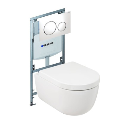 Plieger Nola toiletset Rimless Geberit inbouwreservoir softclose en quickrelease toiletzitting met bedieningsplaat wit