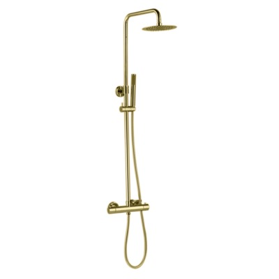 Best Design Nancy Set de douche pluie mural thermostatique Doré mat