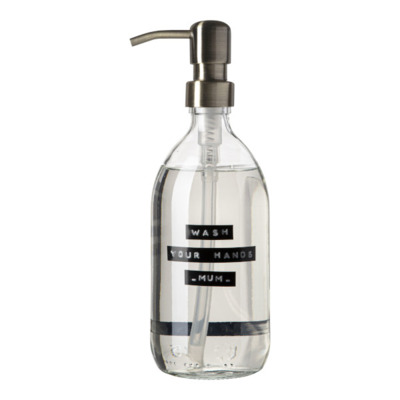 Wellmark Handzeep helder glas messing pomp 500ml tekst WASH YOUR HANDS-MUM-