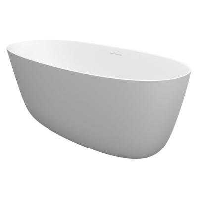 Riho Oval vrijstaand bad 160x72x55cm solid surface incl sifon mat wit