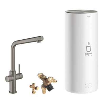 Grohe Red 1-gats keukenkraan duo m. l-uitloop m. L-size boiler brushed hard graphite