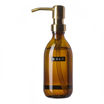 Wellmark Handzeep bruin glas messing pomp 250ml tekst SOAP