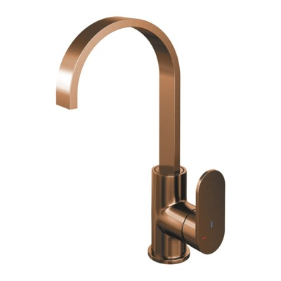 Brauer Copper Edition Wastafelmengkraan hoog model platte uitloop type S1 greep ColdStart PVD