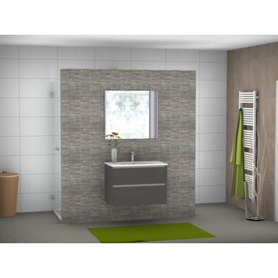 Throne Bathrooms Infinity wastafelkast 2 laden greeploos 80x55x45cm kwarts lava