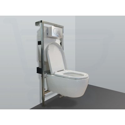 Throne Bathrooms Salina inbouwset met keramische wandcloset en softclose zitting afdekplaat mat chroom