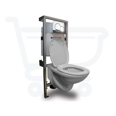 Plieger Brussel toilet set met Geberit Inbouwreservoir inclusief soft close toiletzitting afdekplaat chroom