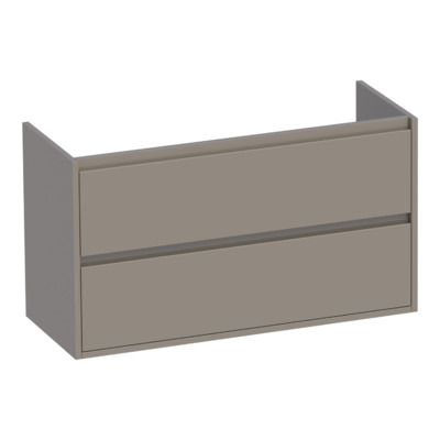 Saniclass New Future Small onderkast 99x39x55cm greeploos hangend met 2 softclose lades MDF hoogglans taupe