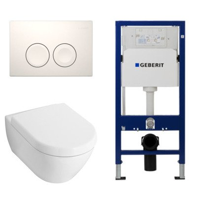 Villeroy en Boch Subway 2.0 toiletset met luxe zitting, UP100 reservoir en Delta 21 Wit Knop