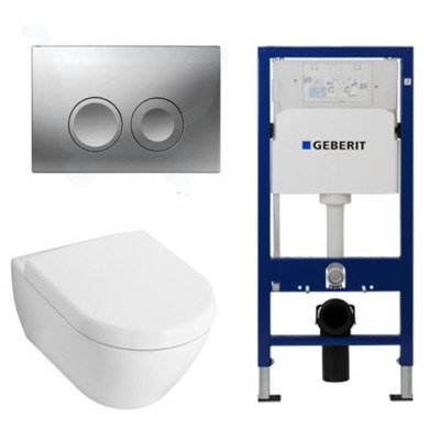 Villeroy en Boch Subway 2.0 toiletset met luxe zitting, UP100 reservoir en Delta 21 mat chroom knop