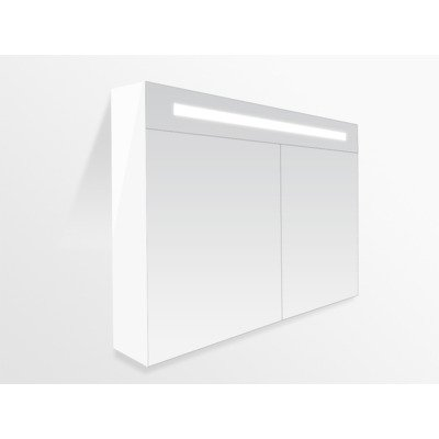 Saniclass Double Face Armoire miroir 100x70cm 2 portes Blanc brillant mat