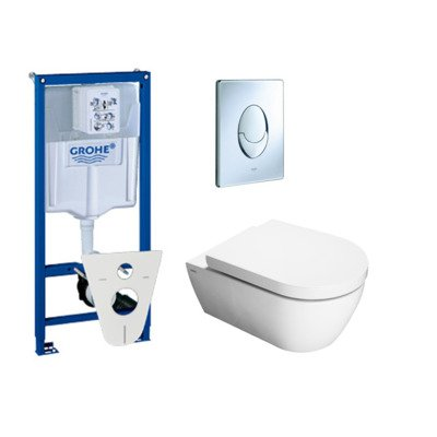 Throne Bathrooms Salina toiletset met inbouwreservoir, closetzitting met softclose en bedieningsplaat chroom