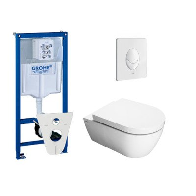 Throne Bathrooms Salina toiletset met inbouwreservoir, closetzitting met softclose en bedieningsplaat wit
