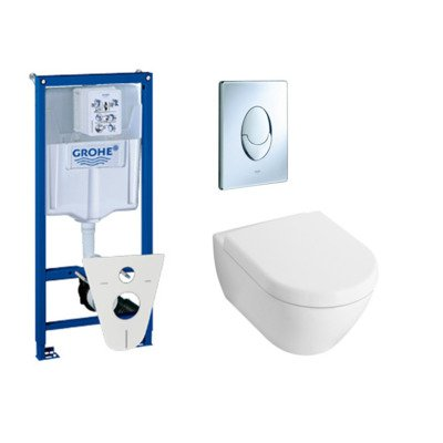 villeroy en boch Subway 2.0 toiletset met inbouwreservoir, softclose en quick release closetzitting en bedieningsplaat chroom