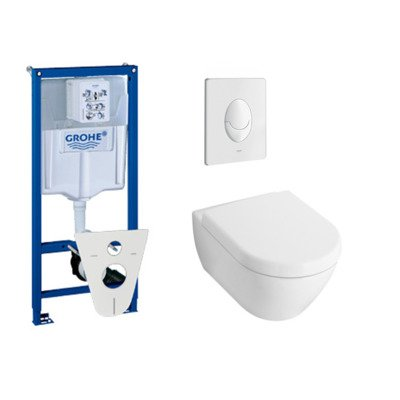 villeroy en boch Subway 2.0 toiletset met inbouwreservoir, softclose en quick release closetzitting en bedieningsplaat wit