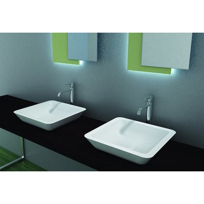 Crosstone Solid surface opbouwwastafel B42.5xD42.5xH10.5cm vierkant wit mat